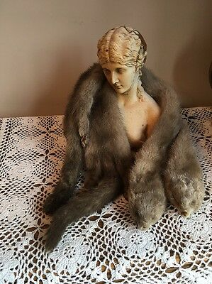 1930's Pair Of Real Mink Fur Taxidermy . Heads Feet Tails Immaculate