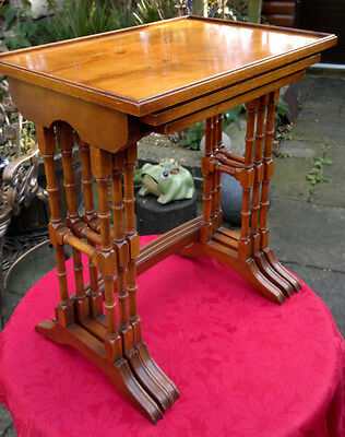 Vintage Bevan Funnell Regency Style Nest of Side Tables -Reprodux-Yew Wood-