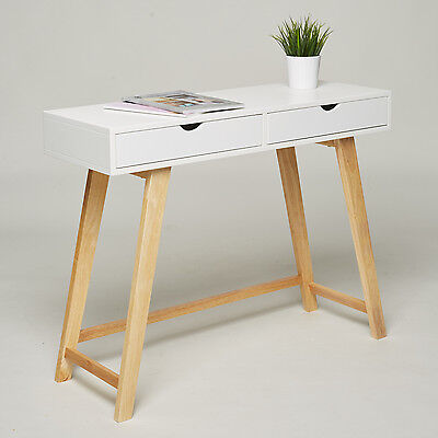 Console Dressing Table - 2 Drawers - White Retro Sideboard Hall Hallway Desk