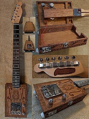 Carl's Custom Engraved Opening Body Handmade 6 String Electric Cigar Box Guitar