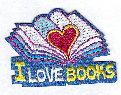 Reading Bookworm Love School Book Embroidered Iron On Applique Patch