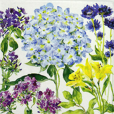 4 Single Table Party Paper Napkins for Decoupage Decopatch Craft Hydrangea