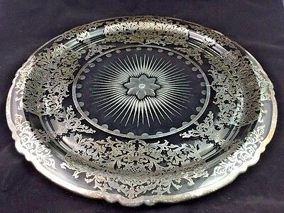 "Antique Silver Overlay Etched Large 15"" Elegant Glass Tray / Platter / Plate"