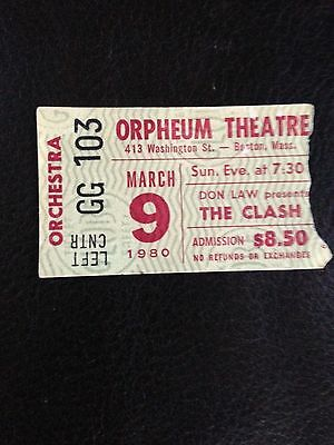 RARE Original 1980 The Clash Concert Ticket Stub Boston MA London Calling