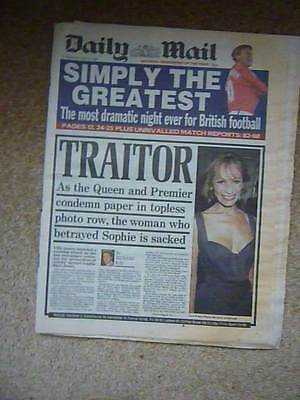 Photos Of Sophie. Queen Condemns Paper Actual Daily Mail Newspaper 27 May 1999