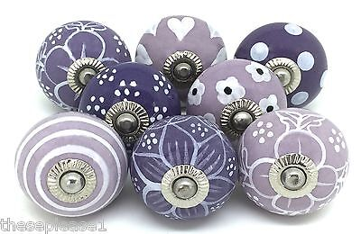 8 These Please Ceramic Door Knobs Drawer Knobs Cupboard Purple & Lilac S8-11