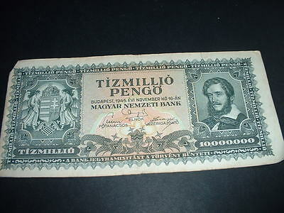 Hungary Old  Banknote 1945 10,million Pengo   (729  (R 30