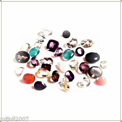 (L_002) ... 91.5 ct. Tall 10 ml Bottle 'O Faceted Mixed Gems - Stones to 12mm!