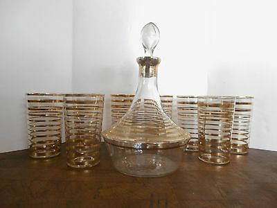 Gold Banded Decanter and 8 Glass Set, Czech MID CENTURY MODERN MAD MEN HIGHBALL