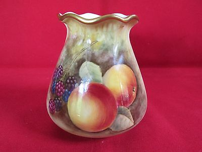 Royal Worcester Fruit and Berry Squat Vase Signed James Skerrett