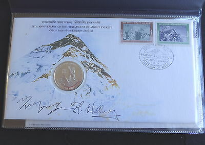 1978 HAND SIGNED SIR EDMUND HILLARY TENZING NORGAY 25th ANN EVEREST PNC RARE