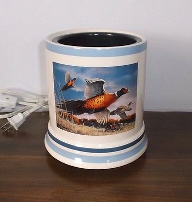 Large Electric Ceramic JAR CANDLE WARMER ~ Geese Design ~ Ex. Cond.