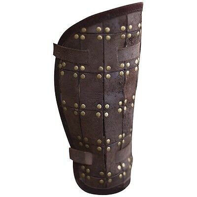 Leather Viking Fighter Greaves, Armor, Brown, Black, Medieval, Norse, LARP