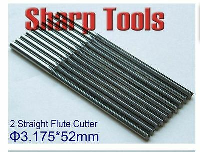 10pcs 3.175*52mm two straight flutes CNC router bits PVC, acryl, plywood