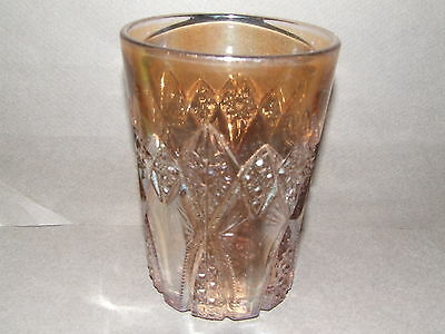 Carnival Glass Tumbler Antique Vintage Imperial Marigold Hobstar Band (Cg75)