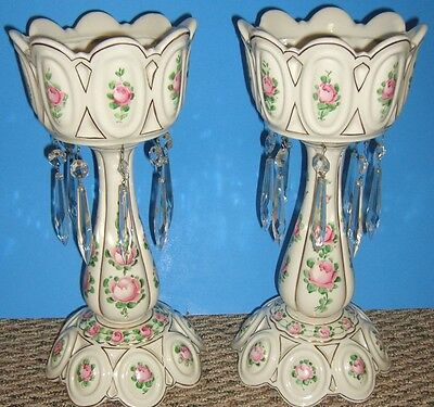 """Victorian Lusters (lustres) with prisms 13 1/2"""" tall - hand painted roses"""