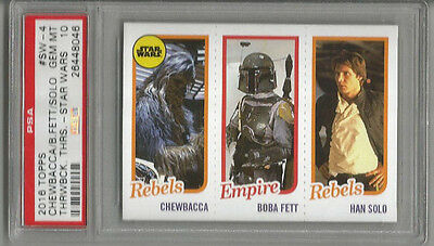 2016 Topps Chewbacca/Boba Fett/ Han Solo Throwback Thursday Star Wars PSA 10