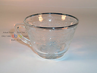 MacBeth–Evans Stippled Rose Band Clear with Platinum Tea Cup