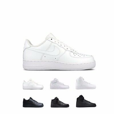 Nike Air Force 1 '07 Low Mid High White/White & Black/Black Shoes Men's GS Kids