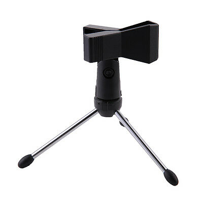 Metal Tripod Desktop Table Microphone Mount Holder Stand Support & Mic Clip ABE