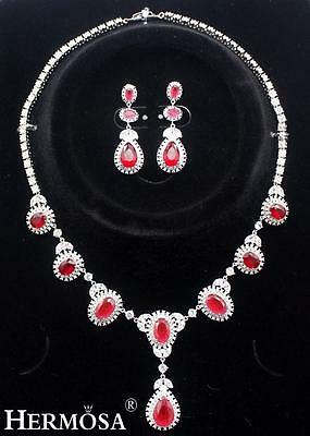 925 Sterling Silver Beauty White Topaz Red Carnelian Necklace Jewelry Set Xk009