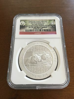 2014 China 1 Oz Silver Panda Coin Smithsonian Institution NGC PF 70 Ultra Cameo