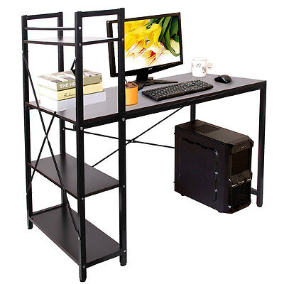 4 Tiers Modern Home Office Desk Computer PC Table Worksation & Bookcase Shelf