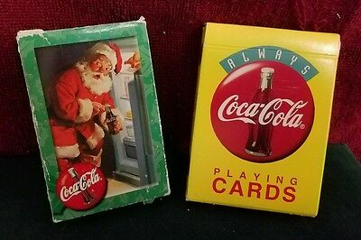 Coca-Cola Playing Cards Santa at the window and Bright Yellow. Great shape!