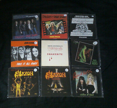 Heavy metal 9 x  rare  7 inch singles mix joblot