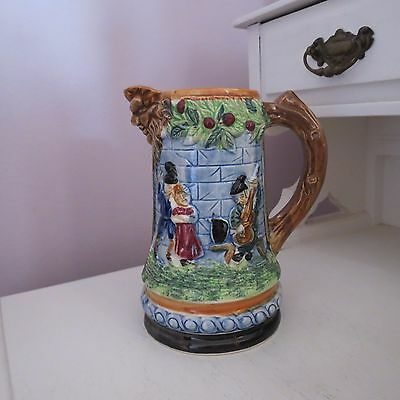 Vintage hand painted mask jug castle scene