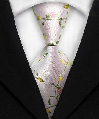 Green, Pink, And Yellow Floral Classic 100% Silk Men's Necktie #1859