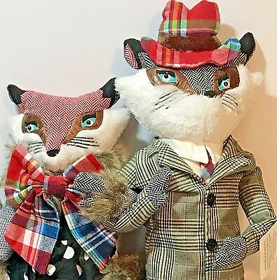 Fox Foxy Couple Lady Gent Large Plaid Bamboo Pose-able Cabin 2 Debi Lilly Decor