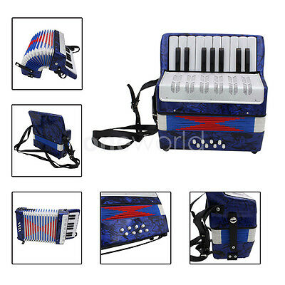17 Keys Kids Piano Accordion 8 Bass Musical Instrument Blue