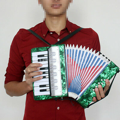 17 Keys Kids Piano Accordion 8 Bass Musical Instrument Green