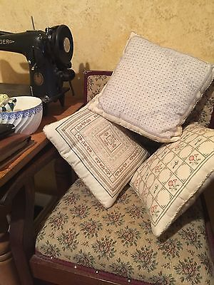 3 X NANNAS HAND MADE VINTAGE HAND CROSS STITCH PILLOW CUSHIONS Very Pretty!