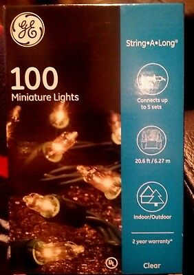 NEW GE Clear Mini String Lights Indoor Outdoor 100 Count Christmas Holiday