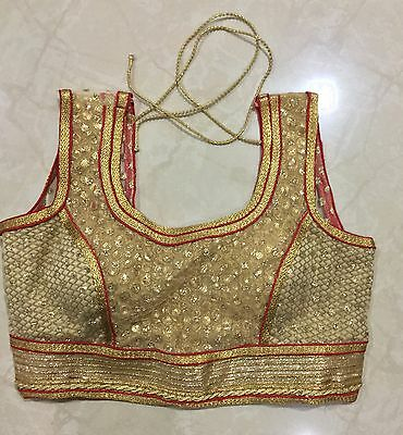 INDIAN seller Ready made New Blouse red Golden sequin choli Ethnic sale 2017