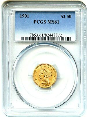 1901 $2 1/2 PCGS MS61 - 2.50 Liberty Gold Coin