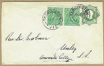 Australia Stationery 1920 uprated use KGV ½d dull green STO Star Envelope ES25A