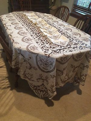 Exc Antique Madeira Cutwork Embroidered Floral Banquet Tablecloth & Napkins