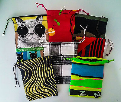 Handmade Quality Recycled Fabric Drawstring Jewellery USB etc Gift Bag / Pouch