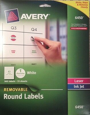 5 Sheets of Avery 6450 Removable Round Labels (No Packaging)