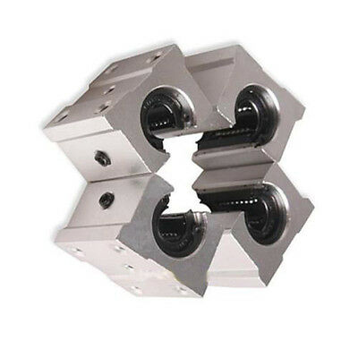 4PCS SBR20UU 20mm Aluminum Open Linear Router Motion Bearings Shaft Block Silver