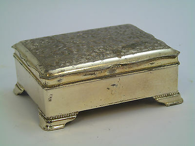Vintage Footed Silverplate Cigarette Matches TRINKET Box Original Wooden Liner