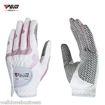 PGM Paired Outdoor White Anti-skid Fiber Cloth Soft Golf Gloves for Women