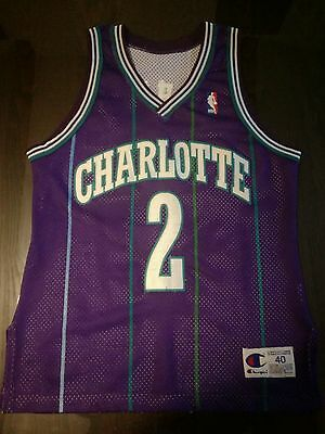 Authentic Champion Nba Jersey Maillot Charlotte Hornets #2 Larry Johnson 40