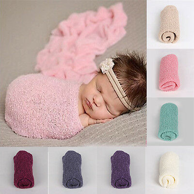 Newborn Photography Crochet Knit Baby Wrap Infant Costume Photo Props Outfit