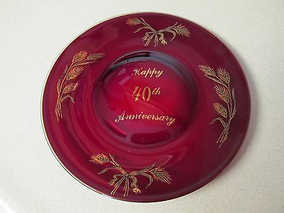 Vintage Happy 40Th Anniversary Ruby Red Plate With Gold Tone-Wheat Shafts!