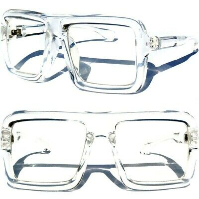 OVERSIZE TRANSPARENT Clear Lens Glasses BIG Flat Top Thick square Aviator Frame