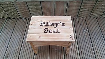 Hand Made Solid Wood Personalised Childrens Seat/Stool